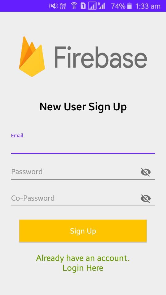 Firebase Signup Screen