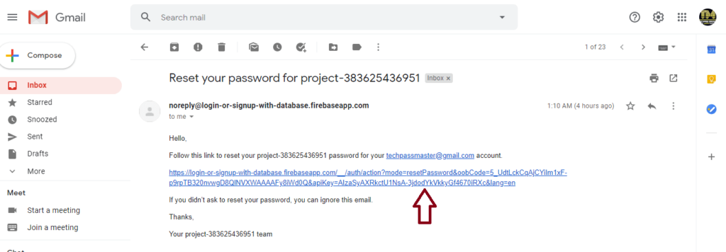 Firebase - Reset Password