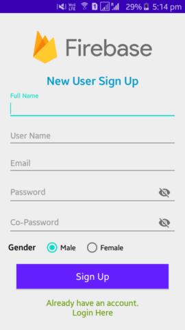 Firebase- Custom user signup screen